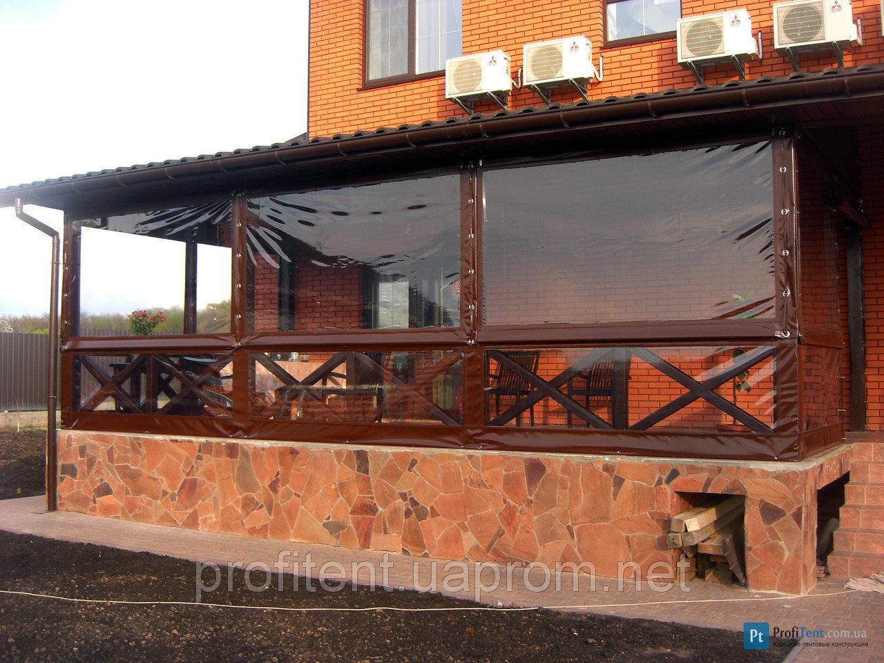Прозрачные шторы пвх для беседок и веранд, фото готовых реше.